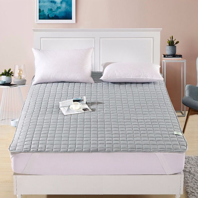 Sunnyrain 1 Piece Solid Color Quilted Bed Mattress Topper Protection Pad With Elastic