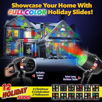 Slide Show Shower with 12 Full Color Slides for Laser Night Projector Christmas Star Halloween Seasonal Gift