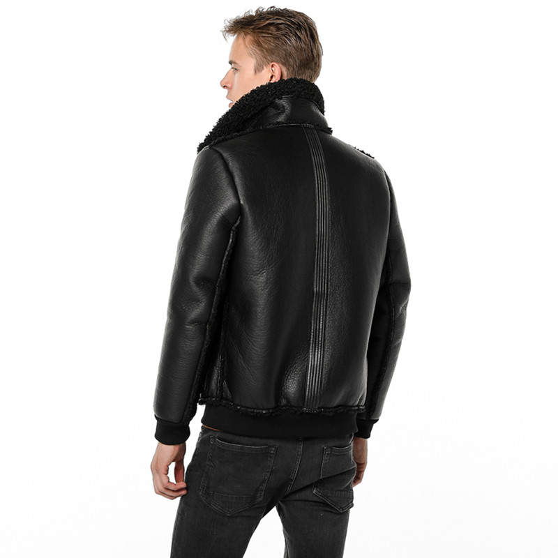 Populaire en Europe et en amérique hommes veste en cuir 2019 hiver Airman nouvelle mèche chaude Zipper hommes Faux cuir manteau M-4XL 9615 - 3