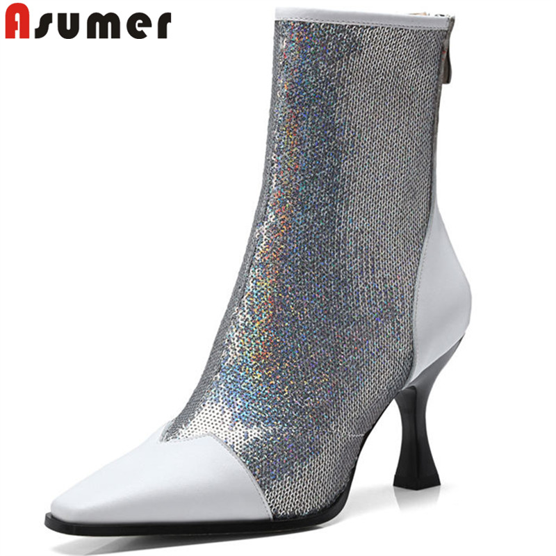 ASUMER black fashion new autumn winter boots women high heels ladies prom ankle boots synthetic genuine leather boots blingASUMER black fashion new autumn winter boots women high heels ladies prom ankle boots synthetic genuine leather boots bling