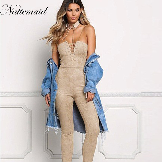 7fbb83b8483b NATTEMAID Womens Jumpsuit New Arrival Strapless Suede Jumpsuits Women Sexy  High Waist Slim Solid Long Pant