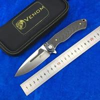 VENOM BONE DOCTOR M390 Titanium CF Flipper folding knife outdoor camping hunting survival pocket kitchen fruit knives EDC tools