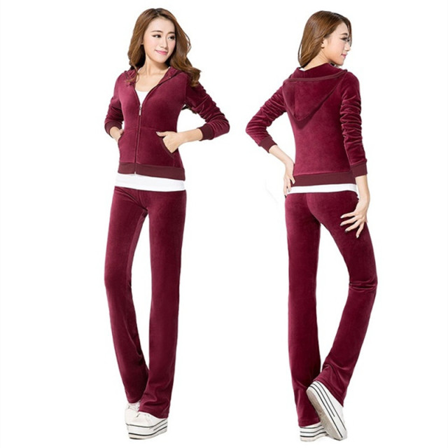 2017 Promotion S-2XL Women 2 Piece Set Winter Spring Warm Velvet Tracksuit Long Sleeve Pant & Sweatsuits Velour Suits Sportsuit