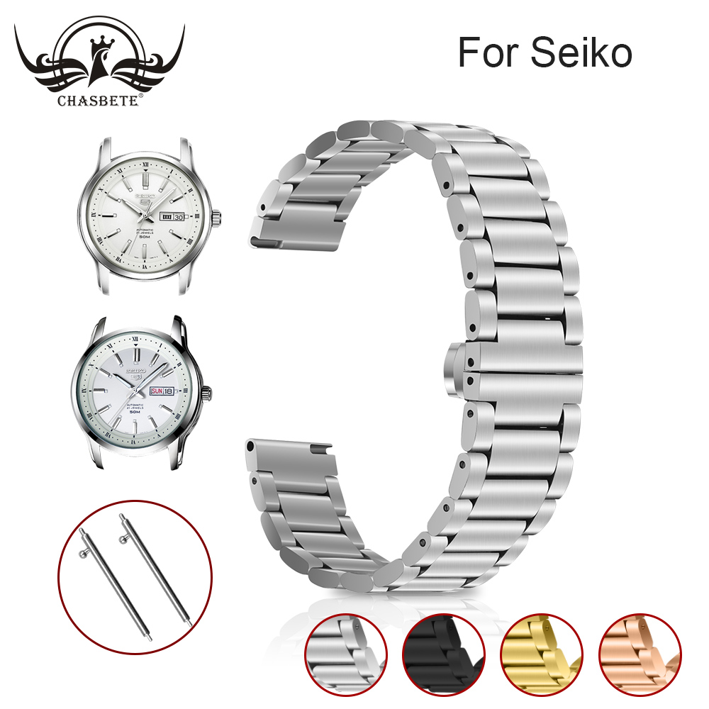 Metal for <font><b>Seiko</b></font> <font><b>Watchband</b></font> <font><b>20mm</b></font> Silver generalStainless Steel Watches Bands Straps 22mm Bracelet For Man Women Wristwatch+tools image