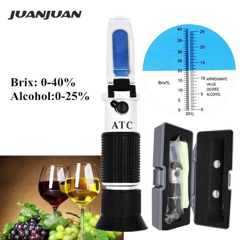 0 0-40% brix-25% de álcool Testador de Álcool Refratômetro Brix Wine Beer Fruit Uva Açúcar Sacarímetro ATC com caixa de varejo 36%
