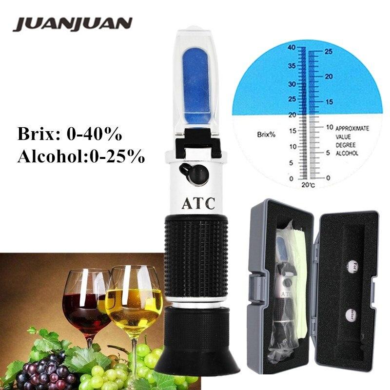 0-40% brix 0-25% testeur de réfractomètre d'alcool pour alcool Brix bière vin Fruit raisin sucre saccharimètre ATC avec boîte de détail 36%