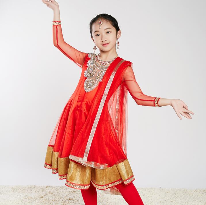 Sarees India Traditional Children Costume Ethnic Style Girl Performance Dance Suits dress+pants+scarf