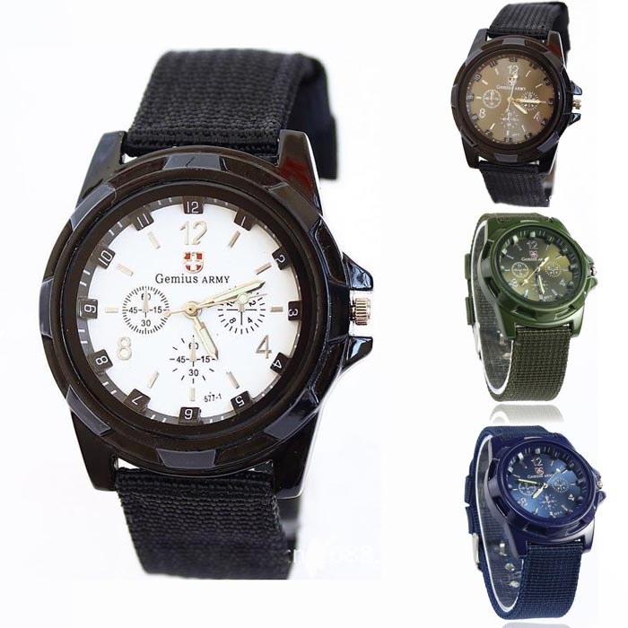 Milky Fashion Gemius Army Racing Force Military Sport Men Officer Fabric Band Watch Reloj de hombre DEC14