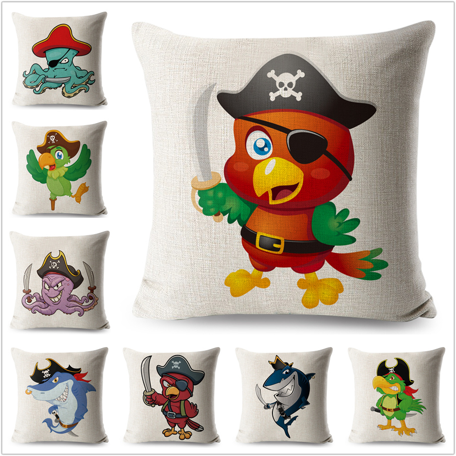 Cartoon Pirate Birds Shark Octopus Pillow Case Linen 45*45 cm Decorative Printed Animals Cushion Cover for Sofa Throw Pillowcase