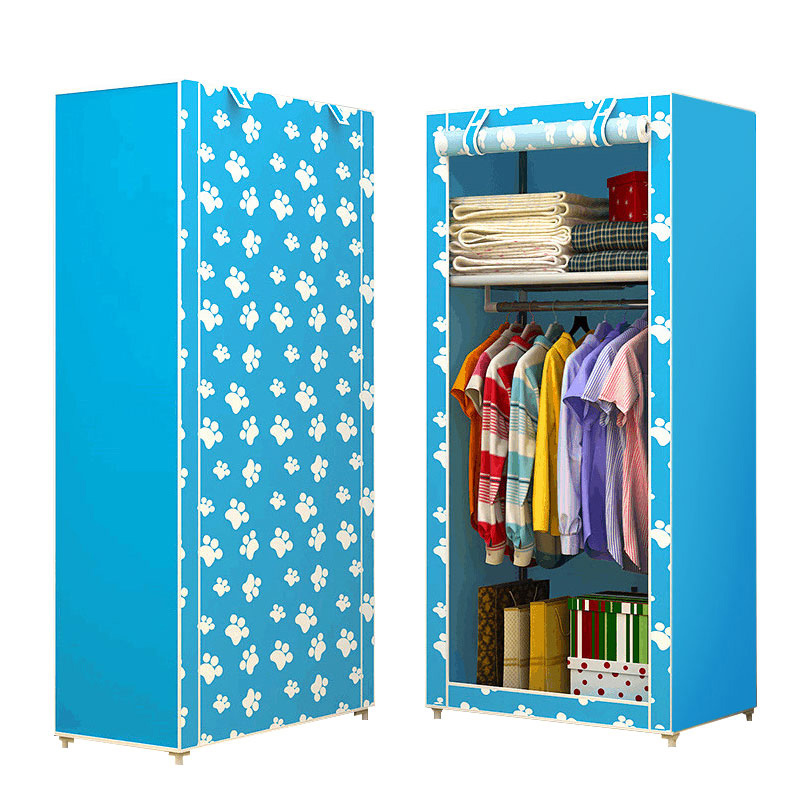 Non-woven Single Folding Wardrobe Student Dormitory Storage Cabinet Home Dust-proof Wardrobe Small Closet