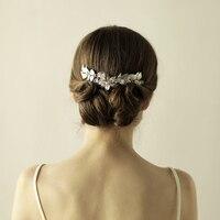 דוואר לי כסף עלה גפן שיער חתונה מסרק שיער ארוך Accessoires בציר נשים תכשיטי כלה בגימור כיסוי ראש