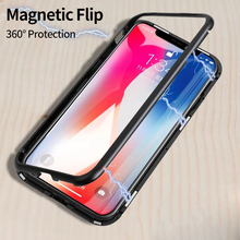 Magnetic Adsorption Flip Case for iPhone X 8 Plus 7 Plus Tempered Glass Back Cover Luxury Metal Bumpers for iPhone 7 8 Hard Case