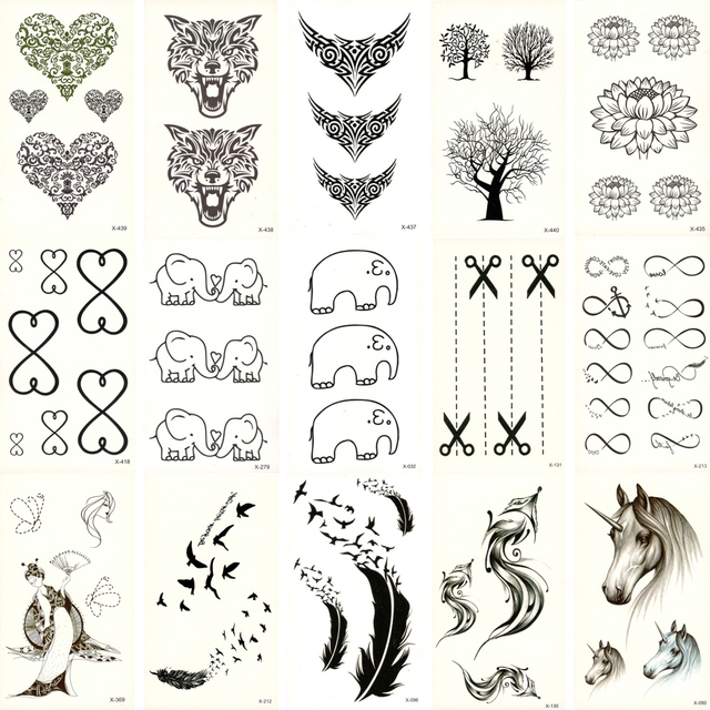 30pcs Fake Temporary waterproof Tattoo Water Transfer deer Elephant Stickers Beauty Body Art Cool Makeup Live of Song X30ZH-02