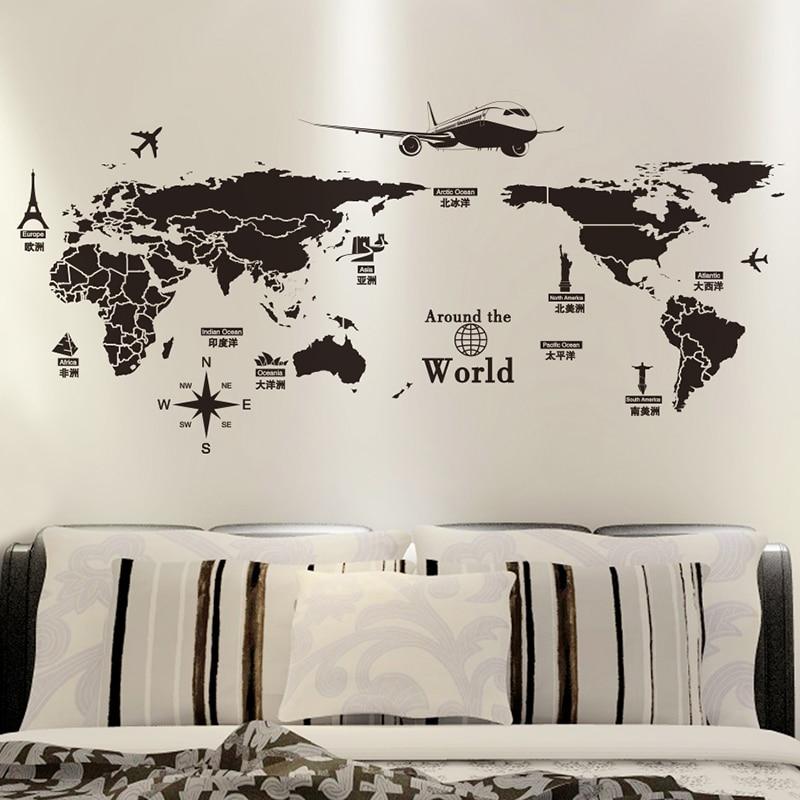[SHIJUEHEZI] Qara Rəng Dünya xəritəsi Divar Stikeri Vinil DIY - Ev dekoru - Fotoqrafiya 1