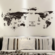 SHIJUEHEZI Black Color World Map Wall Sticker Vinyl DIY World Travel View Wall Decal for Living Room Office Bedroom Decoration