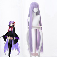Fate EXTRA CCC Cosplay Wig BB Byibyi Black Coat Girl Purple 120cm Long Straight Synthetic Hair + Wig Cap