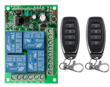 Universal DC 12V 24V 10A Relay 4CH 4 CH Wireless RF Remote Control Switch Transmitter+Receiver Module,315 / 433 MHz Garage Doors