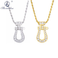 Slovecabin 2018 New Long Chain Japan Shoes Necklace 100% 925 Sterling Silver Women Fashion Men Zircon Crystal Pendant Necklace