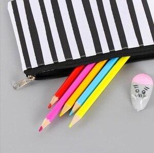 Image 4 - 20pcs/lot Vintage Simple Stripes Canvas Pencil Case Cosmetic Pouch Pen Bag Office School Stationery Supplies Black&White