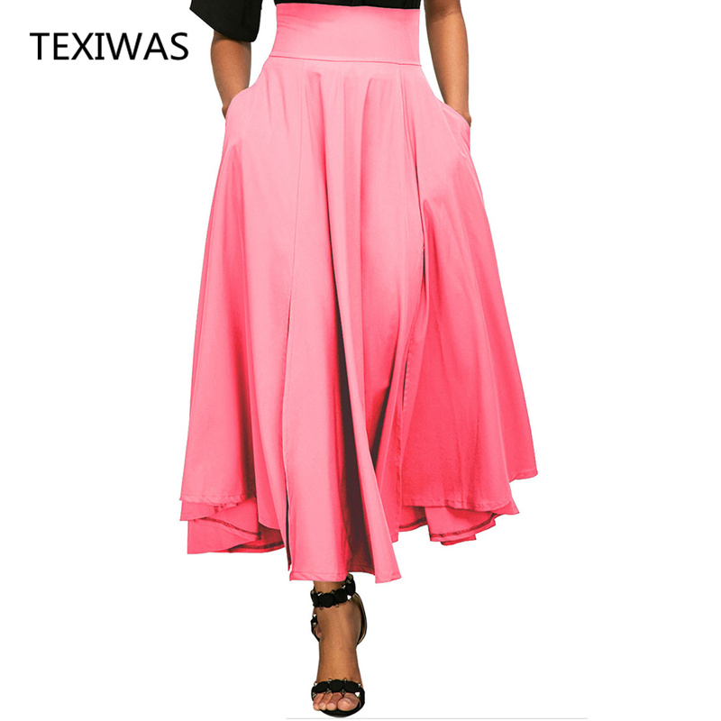 Humorous Texiwas New Elegant Skirt Women 5 Colors Retro High Lace-up Pleated Skirt S-xxl Big Swing Ankle Length Belte Skirt Beach Party With A Long Standing Reputation Skirts