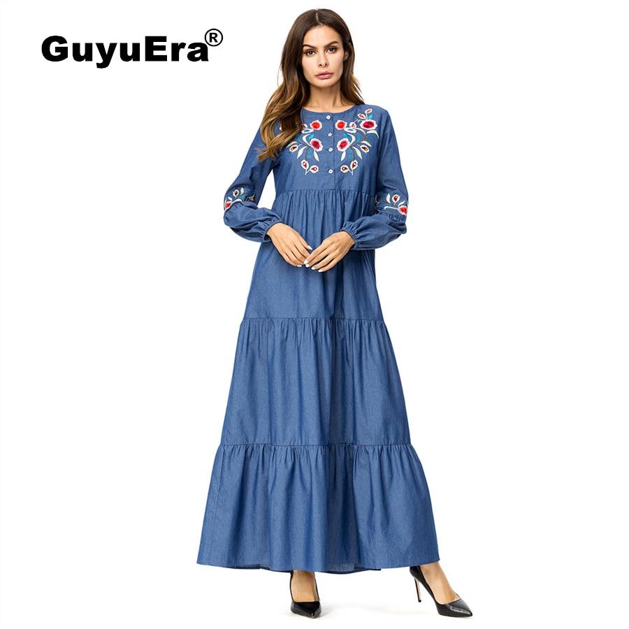 GuyuEra 2018 Abaya pour femmes robe africaine femmes nouveau européen et américain grand Slim grande balançoire broderie Denim robe M-4XL