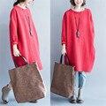 Maternity Dress Новый 2017 Осень Зима Красный Серый Большой Размер Хлопок Белье Стиль Арт Платья для Беременных YFQ027