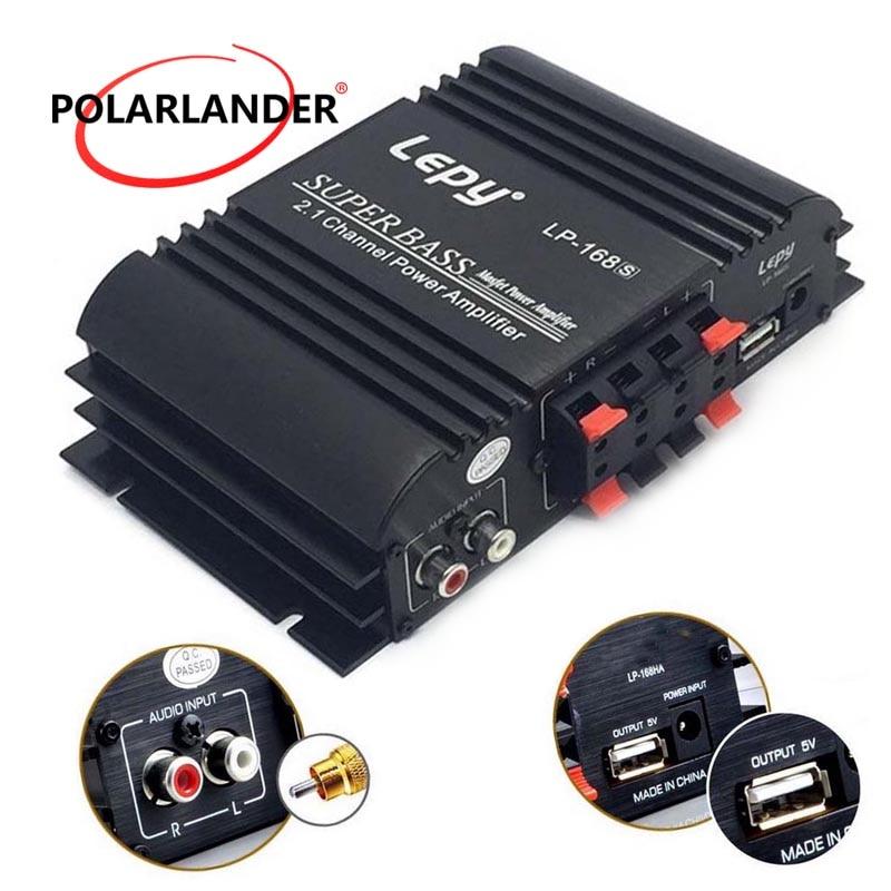 Lepy LP168S 12V Power Subwoofer 2.1 Channel Auto Audio Bass Output HiFi Stereo Sound WithAUX Function Car Amplifier Loud Speaker