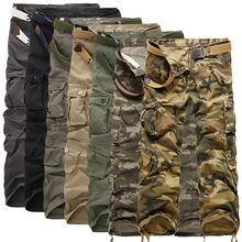 Top Men Loose Multi-Pocket Camouflage Pants Men's Casual Cotton Straight Big Yards Long Frock Multi Zipper Male Washed Trousers