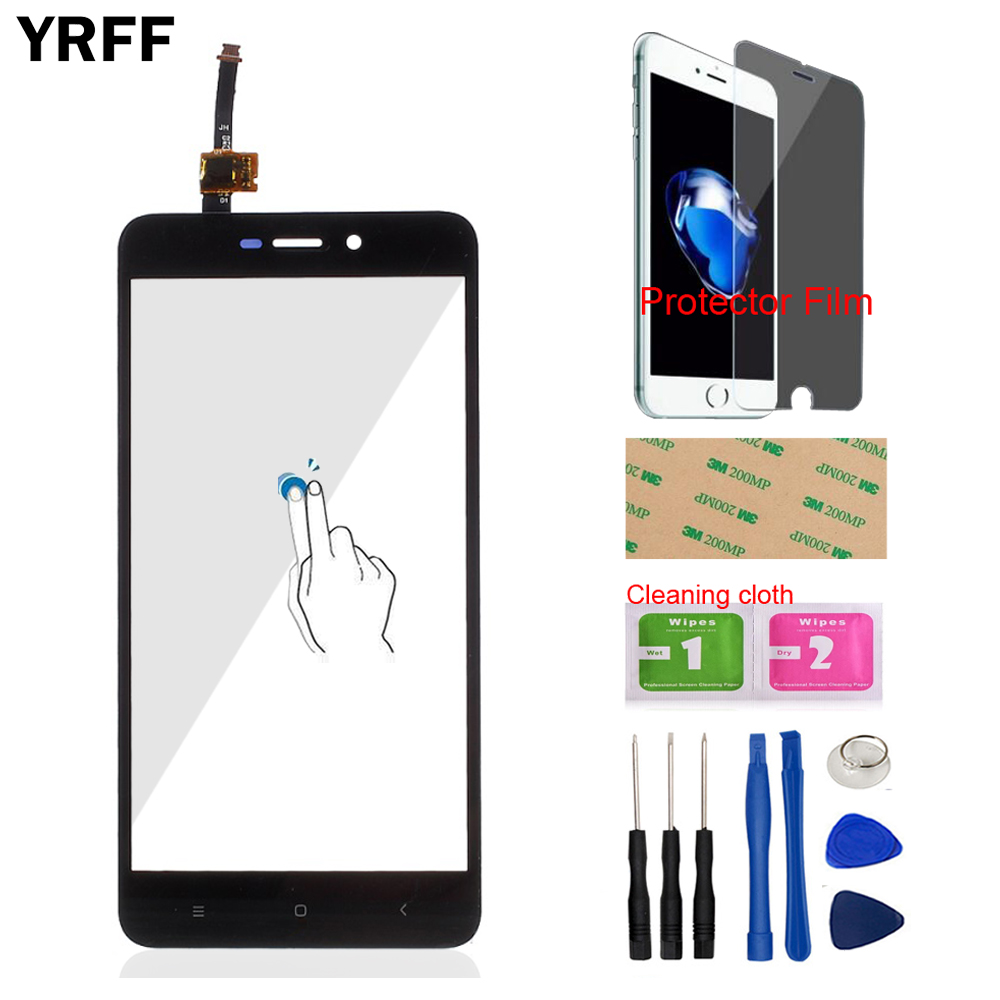 5.0'' Mobile Phone Front Glass For Xiaomi Redmi 4X Redmi4X Touch Screen Digitizer Panel Glass Sensor + Protector Film Adhesive