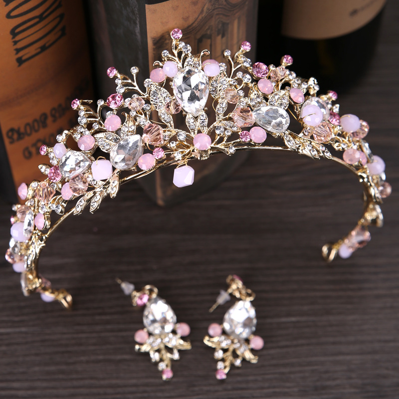 Exquisite Rhinestone Hairwear and Earrings Set For Women Princess Crown Pink And White Color Wedding Accessories starry pattern gold plated alloy rhinestone stud earrings for women pink pair