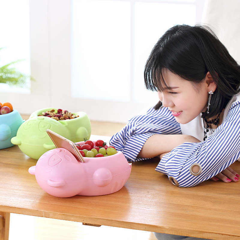 050 Cartoon Bear Double drawer fruit plate lazy fruit tray mobile phone bracket fruit chip tray snack plates 25 14 10cm in Dishes Plates from Home Garden