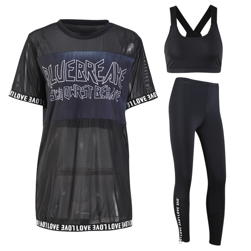 long black blouse T-shirt+bra+leggings 3 pieces women sports set with letters sexy breathable mesh short sleeve gym fitness suit шкаф tlk настенный 19 6u дверь перфор 600х303х350мм серый