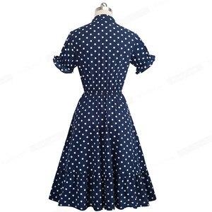 Image 3 - Güzel sonsuza kadar zarif Vintage Polka noktaları Pinup yay vestidos iş parti kadın Flare A Line salıncak kadın elbise A130