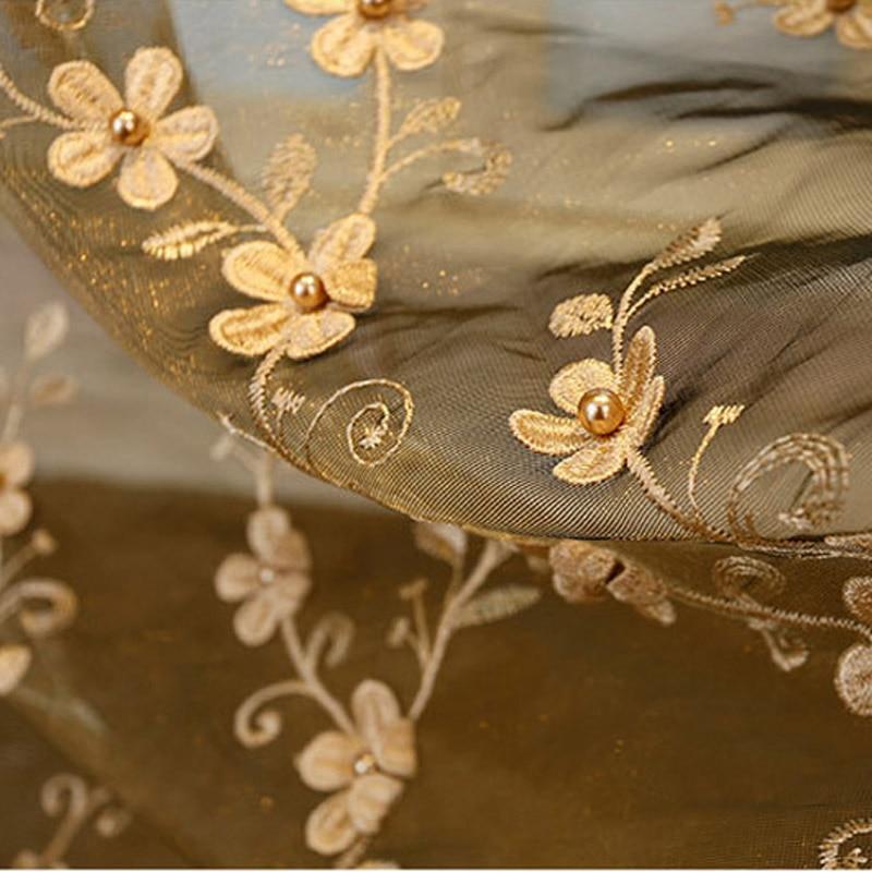 Flor de bordado de perlas europeas Beige Cortinas de gasa pura para - Textiles para el hogar