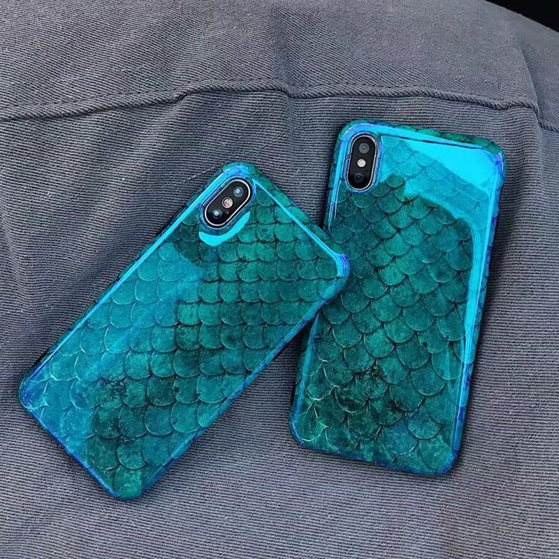 Blu-Ray Laser Phone Iphone 6 6S 7 8 Plus Cool Blue Fish Scale Soft IMD Phone Back Cover Cases For Iphone X