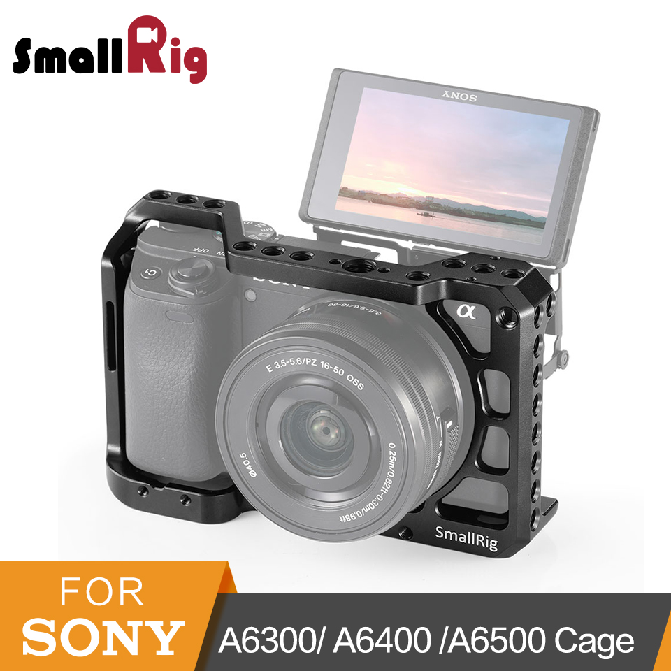 SmallRig A6400 Cage For Sony A6300/ A6400 /A6500 Form-Fitted DSLR Camera Cage With 1/4' And 3/8' Threading Holes - 2310