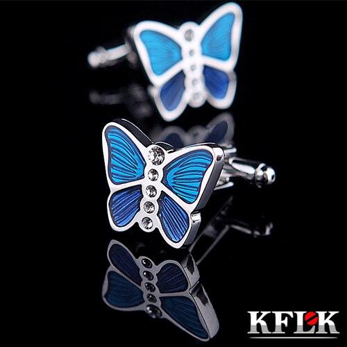 KFLK Luxury shirt cufflinks for women Brand cuff buttons Blue cuff link High Quality Animal Butterfly abotoaduras Jewelry