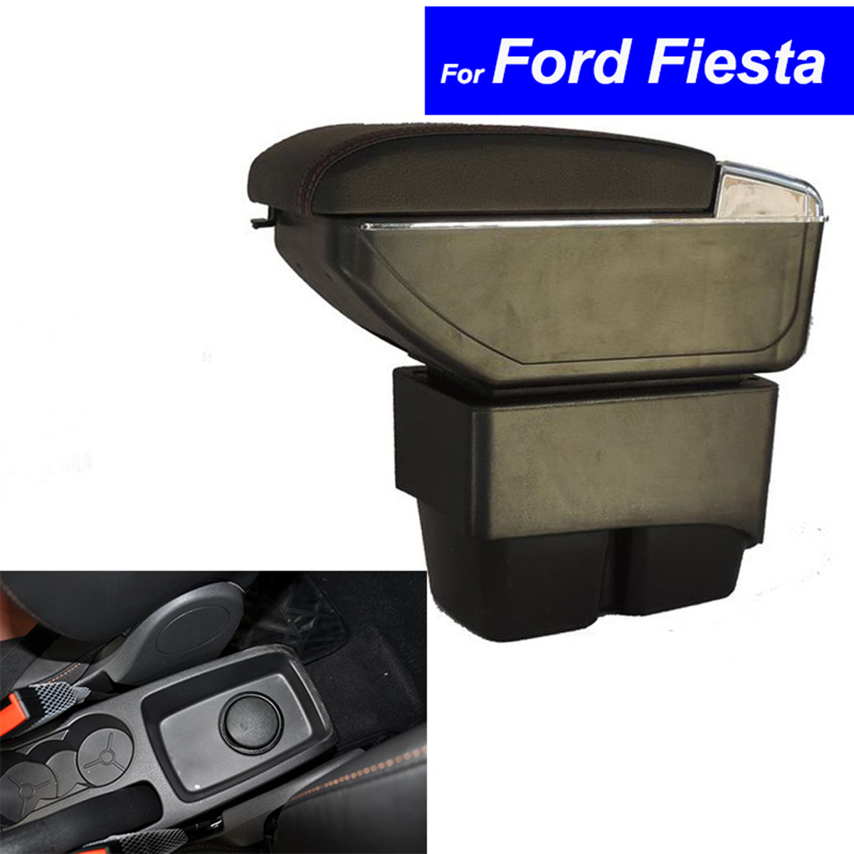 Leather Car Center Console Armrests Storage Box for Ford Fiesta 2003 ~ 2010 2011 2012 2013 2014 Auto Parts Free Shipping high quality black storage box armrest center console for ford focus 2012 2014 only fit for low equiped model