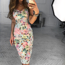 Women Dress Female Floral Print Sexy Slim Bandage Dresses Summer Ladies Casual Sleeveless Bodycon Party Dance Club H30