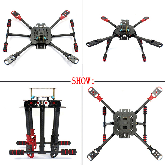 JMT X4  560mm Carbon Fiber Folding Frame with Foldable /Non-foldable Landing Skid for RC Helicopters Drone PartsRemote Control Toys