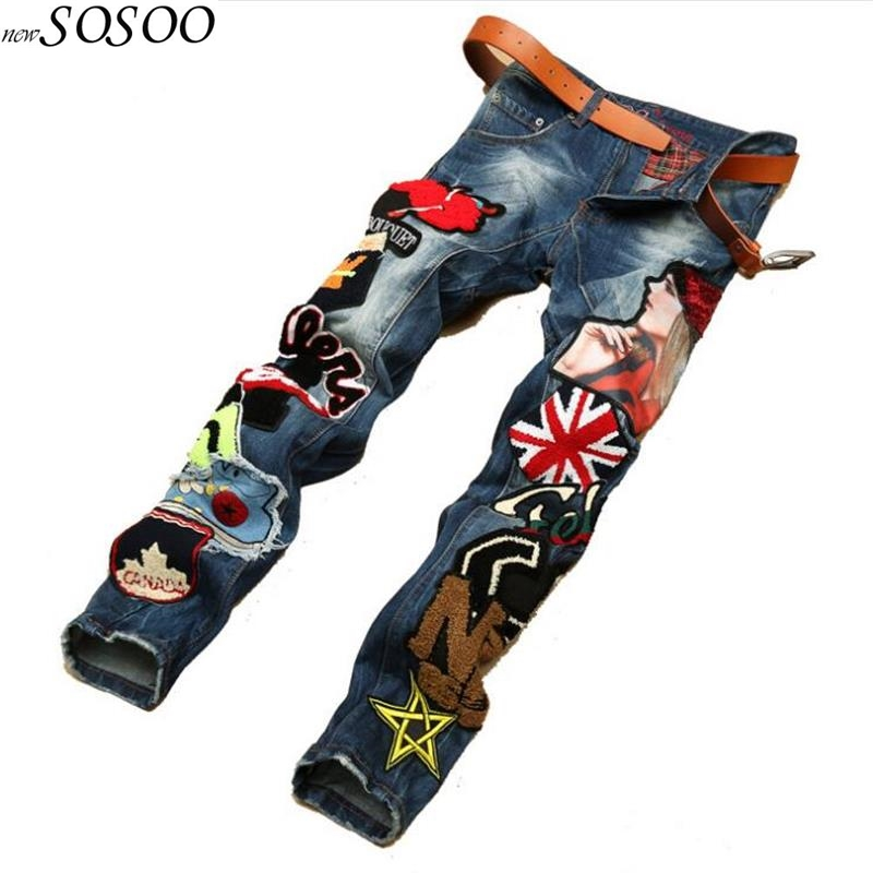 2018 New Men Jeans American Style 100% Cotton Denim Hip Hop Patchwork Of National Flag Fashion Jeans Men #597