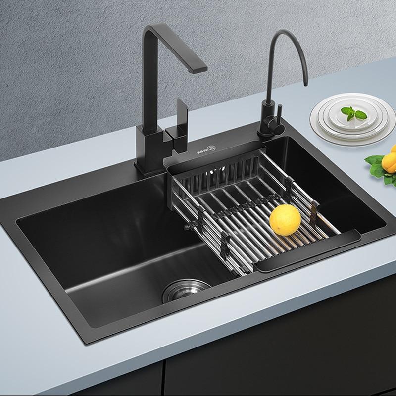 Acier inoxydable 304 nm avec épais noir manuel unique slot bassins évier évier de cuisine seul bol Rectangulaire avec robinet