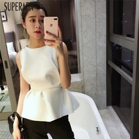 SuperAen 2019 Spring and Summer New Sleeveless Tank Tops Women Solid Color Cotton Wild Ladies Tank Tops Korean Style Tops