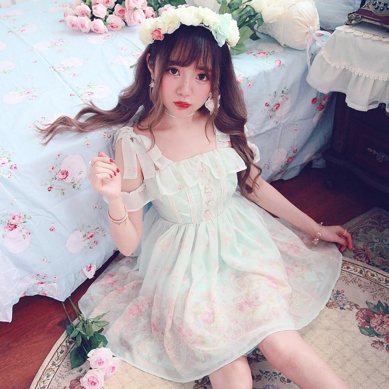 Princess sweet lolita dress Bobon21Faerie Baroque rose floral lace lace Strapless Chiffon Dress D1469