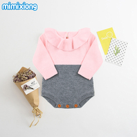 Winter Newborn Baby Girls Bodysuit With Long Sleeves For Infant Autumn One Piece Clothing White Ruffles