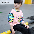 V-TREE New Spring Autumn Baby Girls Clothing Sets Fancy Patten Girls Sports Clothes Kids T-shirt +pants Tracksuit Suit Sets