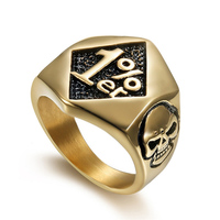 Punk jewelry wholesale skull titanium ring men and women retro ring (RI103137)