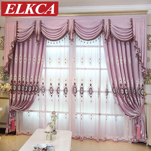 European Purple Embroidered Curtains For Living Room Luxury Tulle The Bedroom Sheer Kitchen