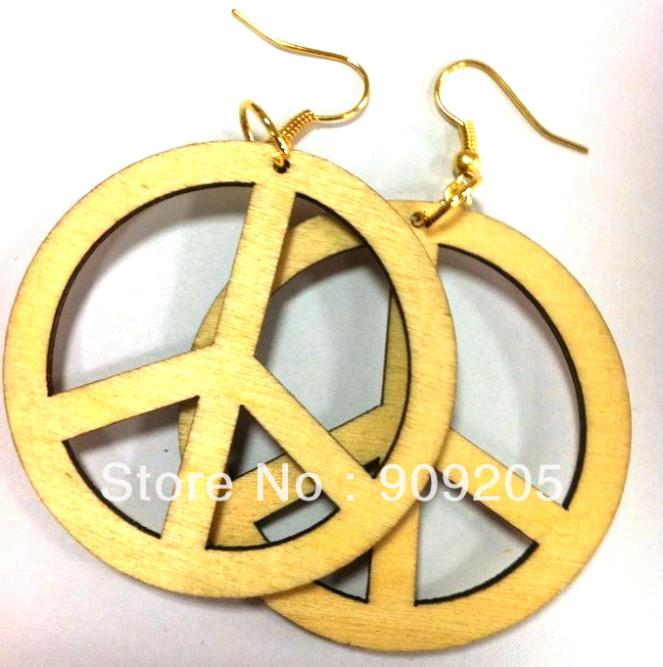 SANSHOOR DIY Natural Unfinished Wooden Earring Round Wooden Earring Drop Peace Sign 10pairs/lot SMT-169J