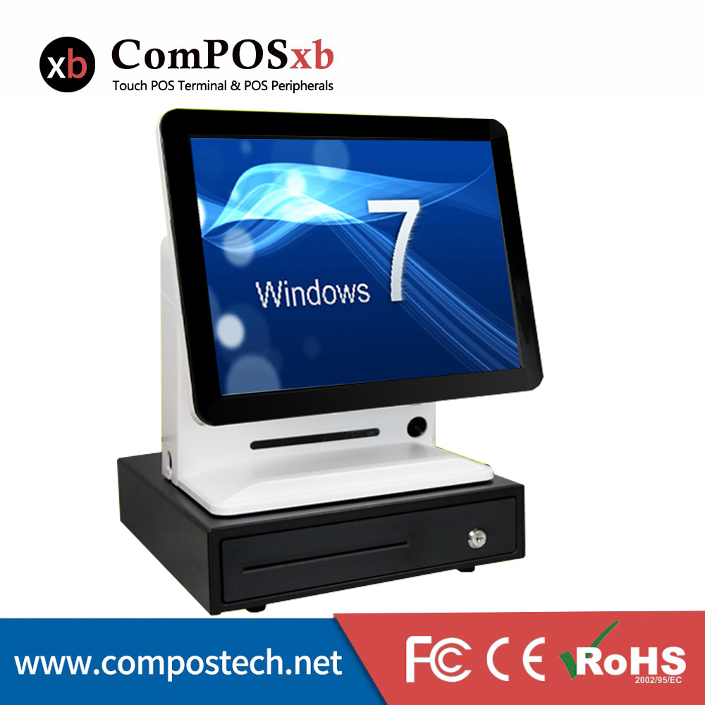 15 Inch All In One Fanless Capacitive Screen Touch POS Electronic EPOS Cash Register With Cash Box